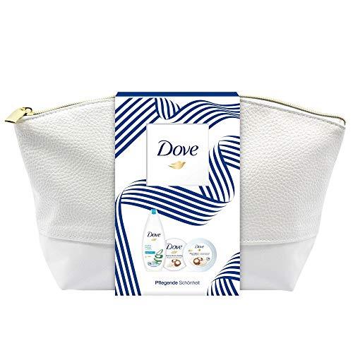 Dove Geschenkset Pflegende Schönheit für seidig-glatte Haut mit Duschgel, Creme-Dusch-Peeling, Body Yoghurt in einer Kulturtasche (250 ml + 225 ml + 250 ml)