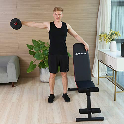 KOMSURF Workout Bench, Adjustable Weight Bench, Exercise Bench Press for Home Gym, Foldable Equipment Body Gym System, Strength Training Bench for Full Body Workout