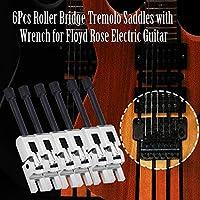 安定したエレキギタートレモロサドルブリッジトレモロサドルギター初心者のためのギターテクニシャンにとって実用的(Silver + black screws)