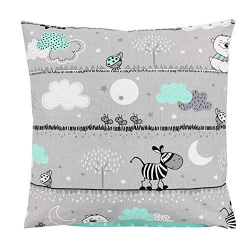 TupTam Kinder Kissenbezug Dekorativ Gemustert, Farbe: Bärchen Mint, Größe: 40 x 60 cm