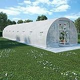 UnfadeMemory Gewächshaus mit Stahlfundament Treibhaus Tomatenhaus Gartengewächshaus Pflanzenhaus mit Fenstern und Tür Weiß 170 g/m² PE-Netzgewebe Stahlrahmen (36 m² 1200 x 300 x 200 cm)