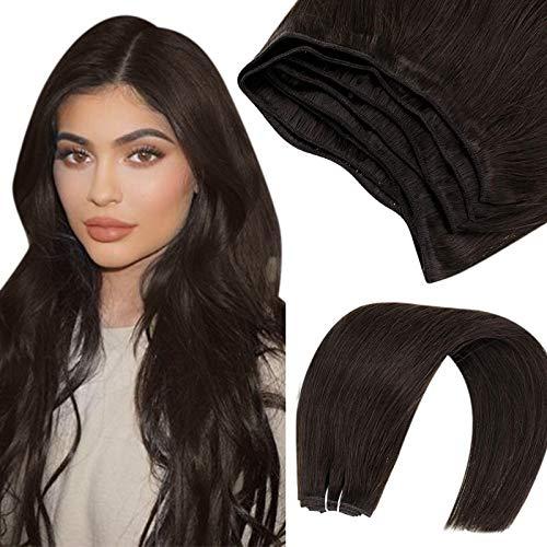 Hetto Haartressen Echthaar Human Hair Bundles Braun Mensch Haar Weft Erweiterungen Glatt Mensch Haar Weft Sew in 22 Zoll Dunkelstes Braun #2 100g