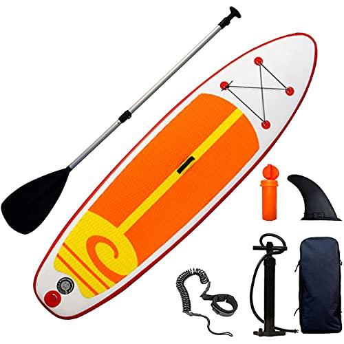FLBTY Tabla de Paddle Surf Inflable, Tabla de Paddle Surf de 10'6 × 32'× 6', Mochila para Accesorios de Paddleboard Sup, Control de Surf con Aleta Inferior, Cubierta Antideslizante