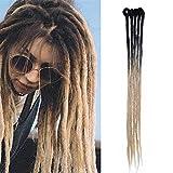 Elailite Dreadlock Extension Treccine Fibre Treccia Finta Capelli Sintetici Dread Extension Rasta Braids Hair 60cm da Donna Uomo, Confezione da 5, Nero/Biondo