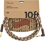 FenderFestival Hemp Instrument Cable - 10' Straight-Angle, Brown Stripe