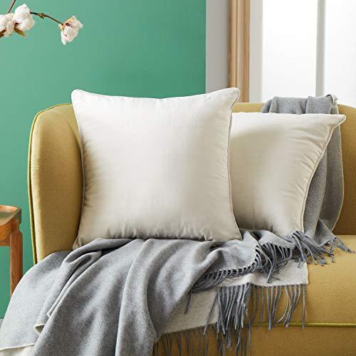 Topfinel 2pcs Housse Coussin Crème 45x45 en Velours Doux Couleur Uni Coussins Decoratifs pour Canapes Salon Moderne Lit Voiture