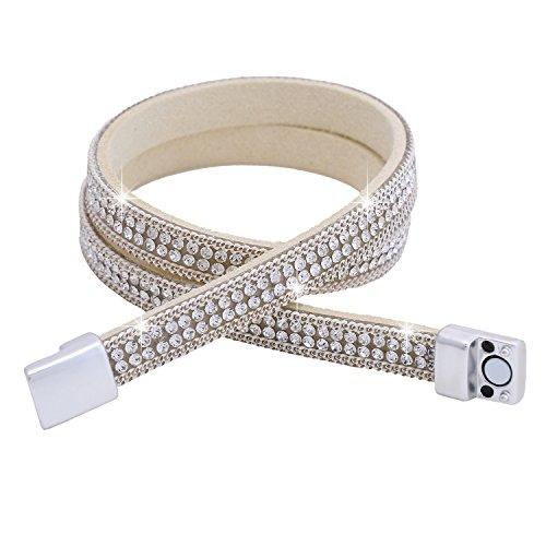 Morella Damen Wickelarmband zweireihig mit Zirkoniasteinen und Magnetverschluss beige