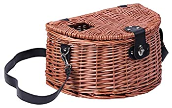 Vintiquewise Wicker Fishing Creel with Faux Leather Shoulder Strap