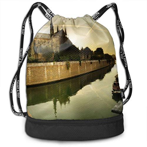 XCNGG Notre Dame De Paris River Mochila con cordón Mochila Impermeable Estampado Bolsa de Cuerda Bolsa de Cuerda de Gran tamaño para Adultos Niños Niñas Deportes Gimnasio Yoga