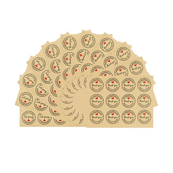 Thank You Stickers, 480pcs Round Thank You Stickers Adhesive Label Stickers, Craft Paper Adhesive Stickers, Decorative Sealing Stickers for Weddings Baby Showers Birthday Business Christmas Gifts