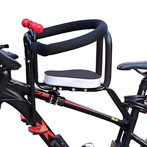 Asiento De Bicicleta Para Niños Silla De Montaje Frontal Para Niños Desmontaje Rápido Asiento De Seguridad Con Barandilla Reposabrazos Y Pedal Para Bicicleta Electrombil ( Color : Black )