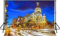 写真のためのZhyマドリードスペインの背景 7x5ft / 2.1x1.5m 都市の建物夜背景 パーティーの装飾用品写真撮影小道具166