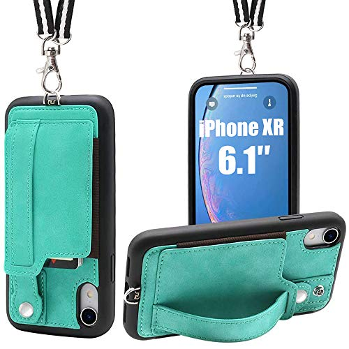TOOVREN iPhone XR Necklace Case Lanyard Strap Xr iPhone Case Wallet Protective Cover with Stand Leather PU Card Holder Adjustable Detachable iPhone Lanyard for Apple iPhone XR 6.1 Inch (2018)