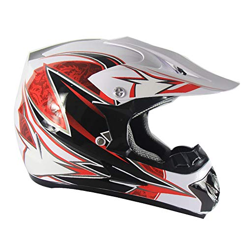 Lycoco Motocross Helm Brille Maske Geschenk Handschuhe Motorrad-Rennsport-Integralhelm,A3,L