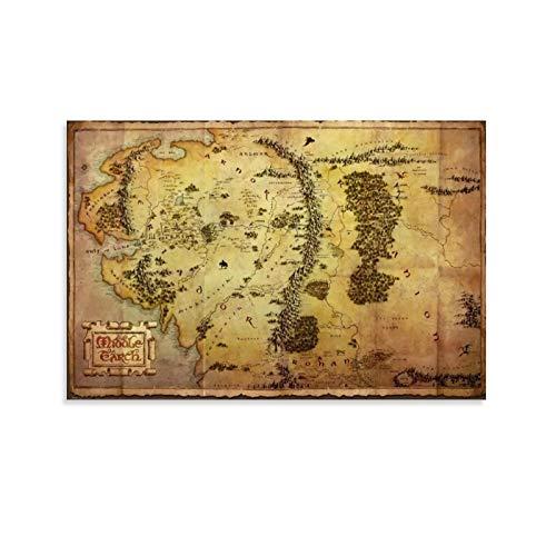 HUAIREN Toile murale représentant une carte de la Terre du Seigneur des Anneaux - Hobbit du milieu - Décoration murale pour chambre à coucher, salle de bain - Poster esthétique 30 x 45 cm