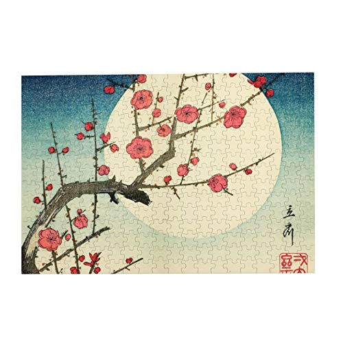 Jigsaw Picture Puzzles Gift For Girl 300pcs Educational Family Game Wall Artwork,Utagawa Hiroshige Flowers Traditional Art Japanese Art Woodblock Print