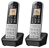 """Panasonic Compact Cordless Phone with DECT 6.0, 1.6"""" Amber LCD and Illuminated HS Keypad, Call Block, Caller ID, Multiple Display Languages - 2 Handset - KX-TGB812S (Black/Silver) (Renewed)"""