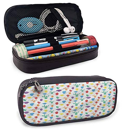 Cactus Leather Zip-Lock Cosmetic Makeup Pouch Bag Pen Pencil Case, Colorful Silhouettes for Marker Organization School Supplies Office Storage Desk Organizing 8'x3.5'x1.5'