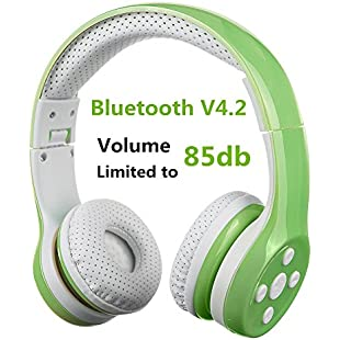 Kids Bluetooth Headphone, Hisonic wireless headphones over-Ear headsets with music share port and Built-in Microphone for calling (green)