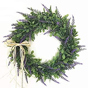 XIANWEI 40cm Christmas Wreath, with Lavender/Bowknot/and Simulated Green Leaves for in Or Outdoors Home Grave Wedding