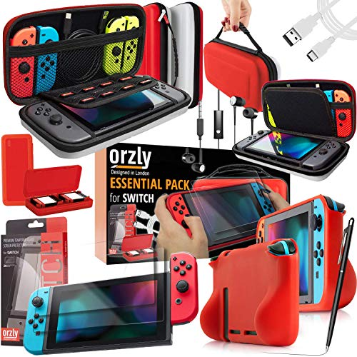 Orzly Switch Bundle, Accessories for Nintendo Switch (Glass Screen Protectors, USB Charging Cable, Switch Console Pouch, Switch Games Case, Comfort Grip Case, Headphones) Poke Style (Red/Black/White)
