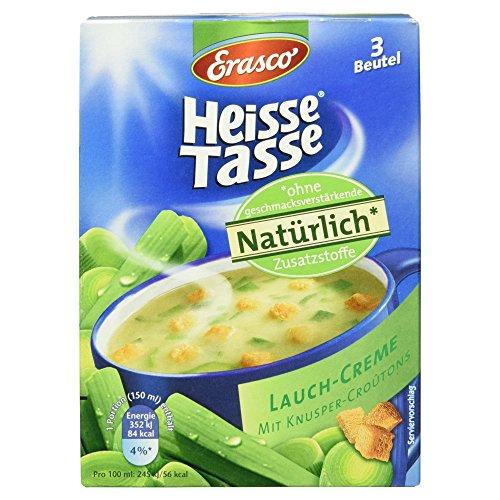 Erasco Heisse Tasse Lauchcreme mit Knusper-Croûtons, 3 Beutel, 52.8g