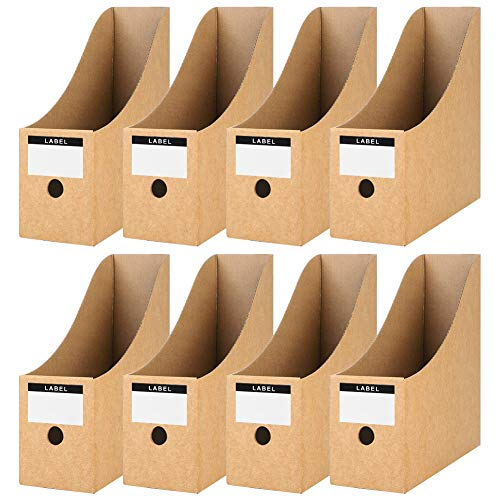 Koogel Zeitschriftensammler aus Kraftpapier, 8 Stück Stehsammler Pappe Zeitschriftenständer Aktenhalter für Datei Ordner Schreibwaren Bürobedarf