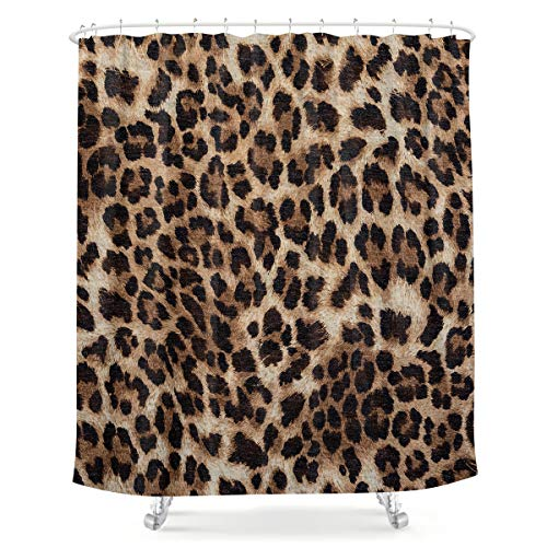 LIGHTINHOME Leopard Print Shower Curtain 60Wx72H Inch Wild Safari Animal Brown Panthera Leopard Skin Pattern Fabric Waterproof Bathroom Home Decor 12 Plastic Hooks