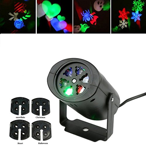 BLOOMWIN LED Décorations Lumières, Projecteur de Noël 4 Motifs 4W IP44 Lumières Intérieur Lampe d'Ambiance pour Noël/Party/Anniversaire/Mariage/Halloween