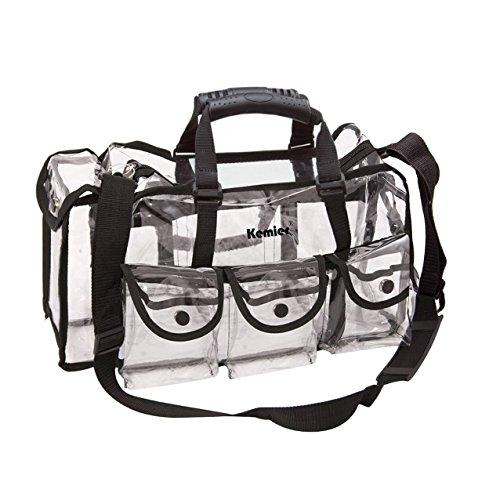 Kemier Durchsichtige Tasche Reise Make-up Tasche mit 6 Außentaschen Kosmetik Organizer mit Schultergurt Groß
