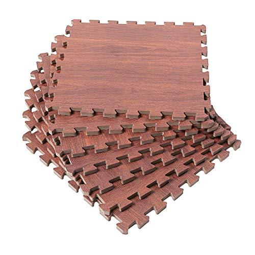 SUPERJARE 16 Tiles (16 Tiles = 16 sq.ft) Eva Foam Interlocking Tiles Protective Flooring Mat with Borders Dark Wood Grain