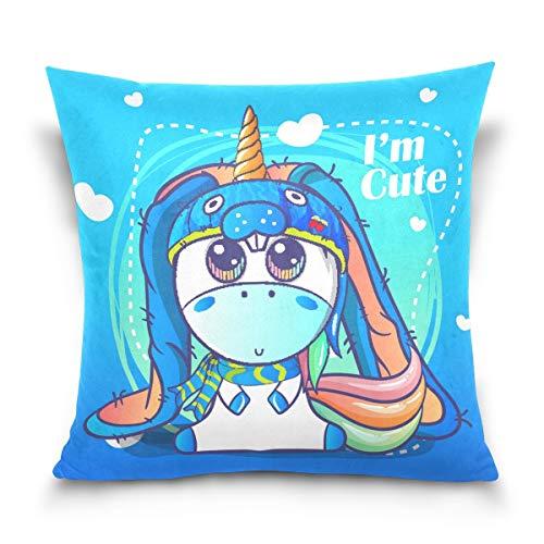 hengpai Cute Unicorn Read Book Moon Square Pillow Cases Decorative Pillow Cover Cotton Velvet for Couch Safa