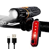 Wastou Luces de Bicicleta, Luz Delantera de Bicicleta Super Brillante, IPX6 Impermeable 6 Modos de Luz de Ciclismo Linterna con Luz Trasera Recargable por USB (Cable USB Incluido) (Negro-A)