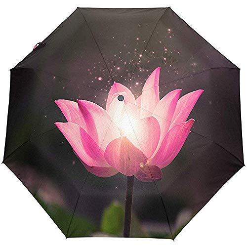 Merle House Automatische Regenschirme Realistische Clipart Lotus Flower Golf Travel Sonne Regen Winddicht Auto Öffnen Schließen Regenschirm mit UV-Schutz