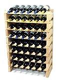 Modular Wine Rack Beechwood 24-72 Bottle Capacity 6 Bottles Across up to 12 Rows Newest Improved Model (48 Bottles - 8 Rows)