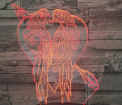 Altavoz Bluetooth 3D Luz nocturna Valentine Love Parrot Multicolor Touch Led Gradient...