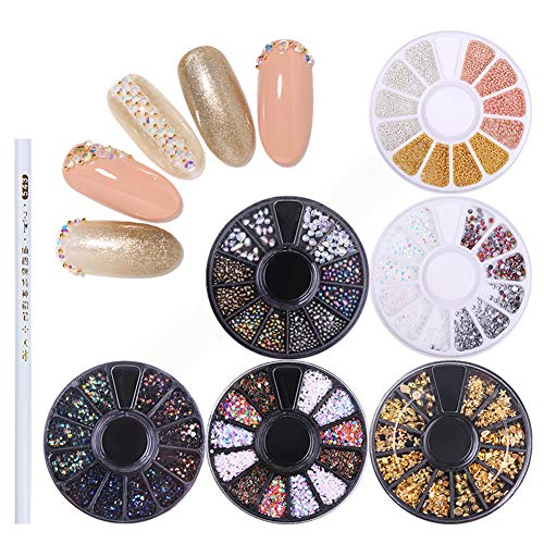 NICOLE DIARY 6 Boxes Chameleon Nail Beads Rhinestones Stone Resin Gold Metal Studs Irregular 3D Decoration Colorful Nail Art with...
