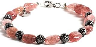 Bracciale Desja per donna con pietre dure naturali Lava Vulcanica e Quarzo Rosa chiusura acciaio