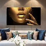 1 pieza de pintura de labios dorados, cuadro decorativo de mujer negra africana, arte de lienzo para decoración de sala de estar, 75x150cm con marco