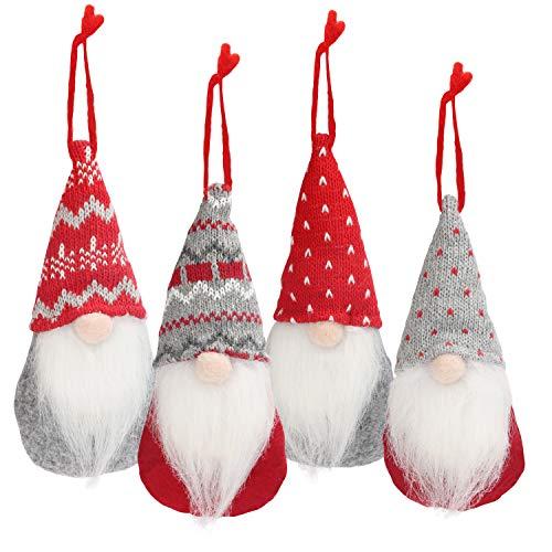 BELLE VOUS Weihnachts Gnom Dekoration (4er Pack) 16,5 x 8cm Schwedischer Plüsch-Tomte Skandinavischer Weihnachtsmann Bart mit Faden als Weihnachtsdeko zum Aufhängen für Weihnachtsbaum, Party, Kamin