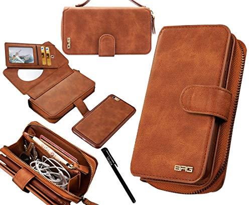 "Urvoix for iPhone SE(2020)/SE2 Case, iPhone 8 Case, iPhone 7 Case, iPhone 6S Case, Premium Leather Zipper Wallet Handbag Detachable Magnetic Case with Flip Card Holder Cover(4.7"" Display), Brown"