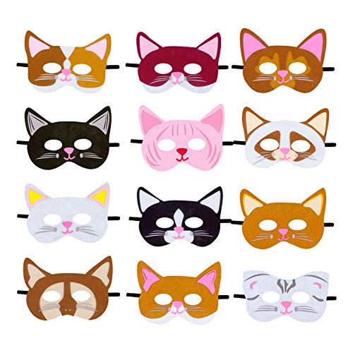 Cat Masks Kitten Masks for Cat Theme Birthday Party Dress-Up Costumes for Kids (12 pieces)