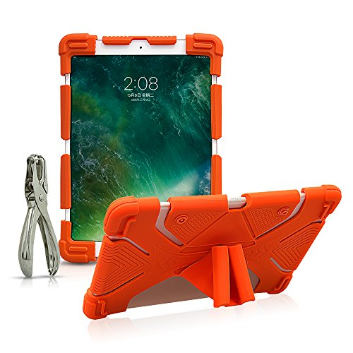 CHINFAI Universal 9.7 10 10.1 10.5 11 Inch Tablet Case for Samsung RCA Kindle, Apple iPad 9.7' 2018/2017 5th/6th Gen Shockproof Silicone Stand Case Cover with DIY Puncher (Orange-Gen 2)