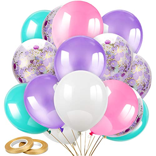 Konsait 50pcs 12 Inch Light Purple Seafoam White Pink Balloons Confetti Balloons Latex Balloons for Wedding Baby Shower Mermaid Unicorn Birthday Party Decoration Supplies with Ribbon