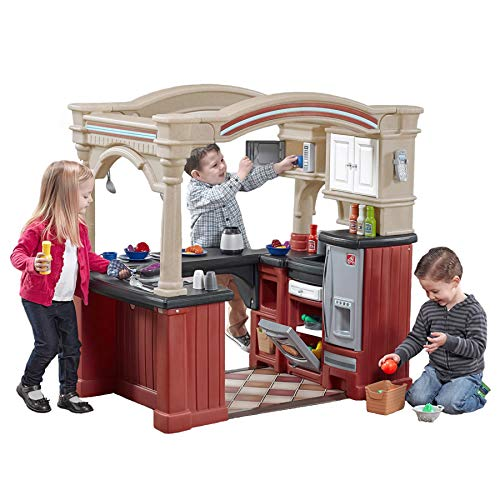 Step2-Grand Walk-in Kitchen Cocina de Juego, Color Granate y Bronceado (Step 2 - Streetsboro - Dropship 8562KR)