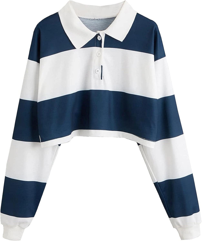 Lousioa Max 67% OFF Women's Stripe Button Sweatshirt Long Casual Turn-Down S shipfree