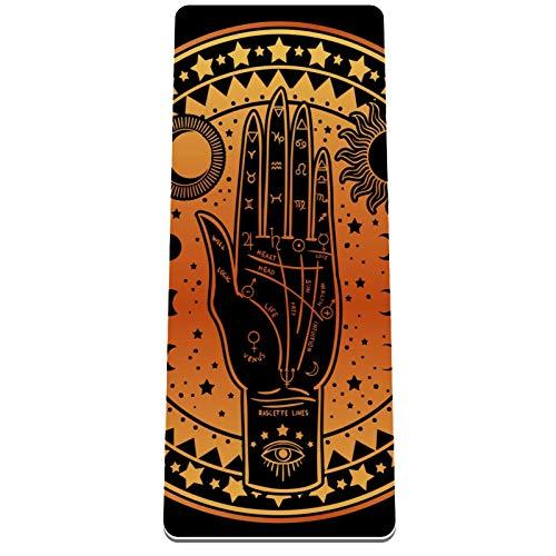 Eslifey Palmistry Diagrama Halloween Astrological Esterilla de yoga gruesa antideslizante para mujeres y niñas Esterillas de ejercicios suaves para pilates (182 x 81 cm, 1/3 pulgadas de grosor)