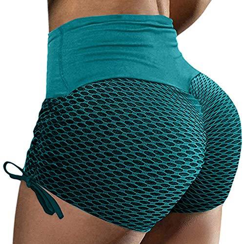 Pudyor Pantalones Cortos de Costuras Shorts Deportivos para Mujer Pantalón de Deporte Transpirables Elásticos Leggins Push up de Cintura Alta Leggings de Yoga para Fitness Estiramiento Pilates