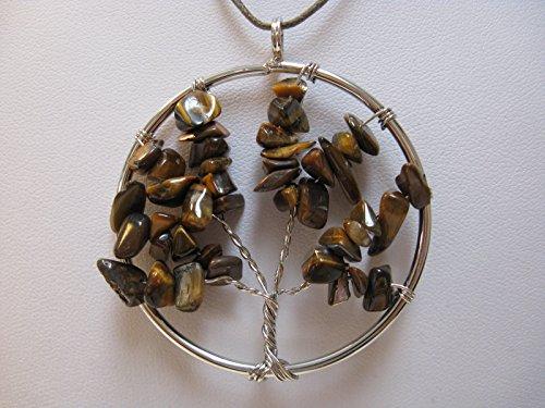 Natural mente – Arbre de Vie, arbre de vie, pendentif, collier, amulette, pendentif pierre précieuse, Rock, pierre, Quartz, œil de tigre, n ° 9
