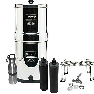 Berkey Filters Premium Stainless Steel Bundle: Black Filters, Stainless Steel Spigot, Stainless Steel Stand and Stainless Steel Water Bottle (2 Gallon Big Berkey)